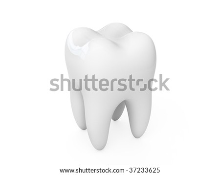 3d tooth isolated on white background - stock photo