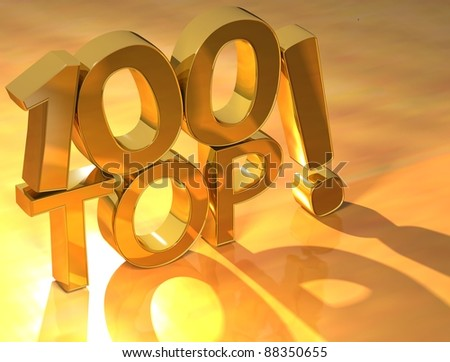 3D Top Hundred Text on yellow background - stock photo