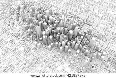 3d top view of business city downtown - stock photo
