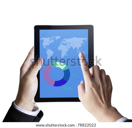 3d touchpad ,hand holding a touchpad pc with graph