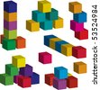 3d toy blocks of various colors (vector available) - stock vector