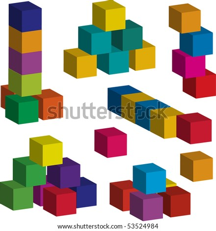 3d toy blocks of various colors (vector available) - stock photo