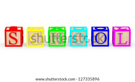 3D toy cubes with letters spelling school ��� isolated - stock photo