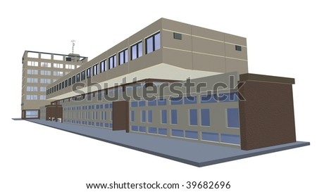 3D trade commercial center white background