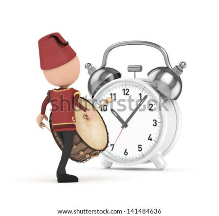 3D Traditional Ramadan Drummer and white clock - stock photo