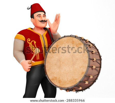 3D Traditional Ramadan Drummer announcing to people