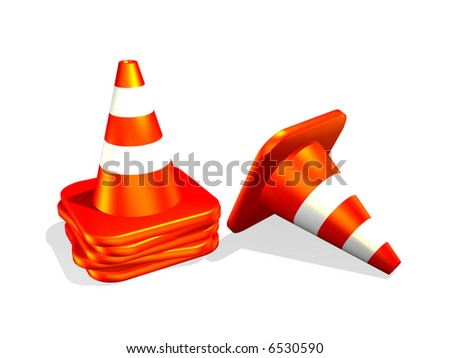 3d traffic cone isolated in white background