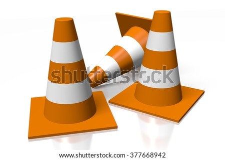 3D traffic cones - great for topics related with cars, driving etc. - stock photo