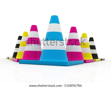 3d Traffic cones in CMYK colors - stock photo