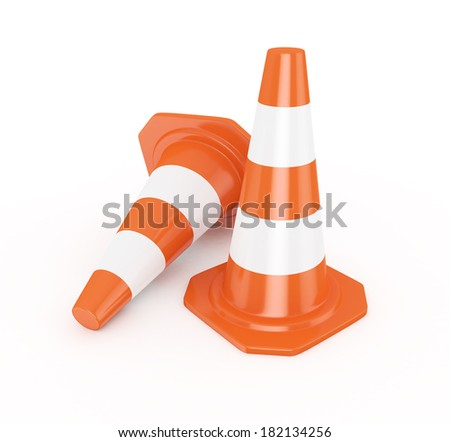 3d Traffic Cones - isolated