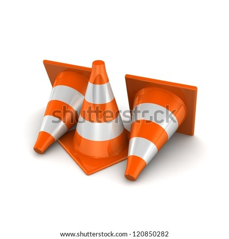 3d traffic cones on white background - stock photo