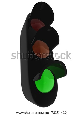 3D traffic light on green - isolated over white