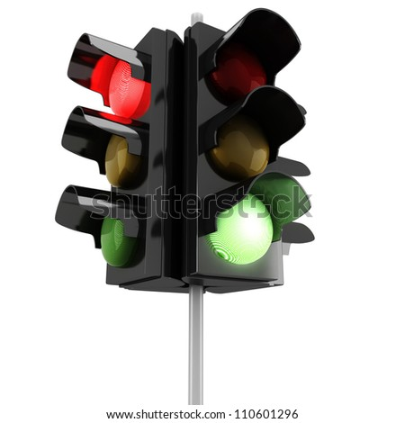 3d traffic lights on white background - stock photo