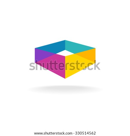 3d transparent abstract colorful perspective box logo - stock photo