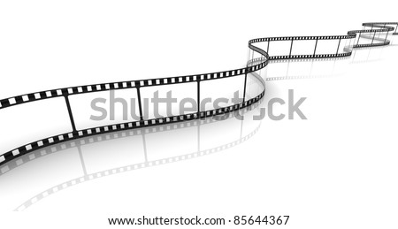 3d transparent film strip on white background - stock photo