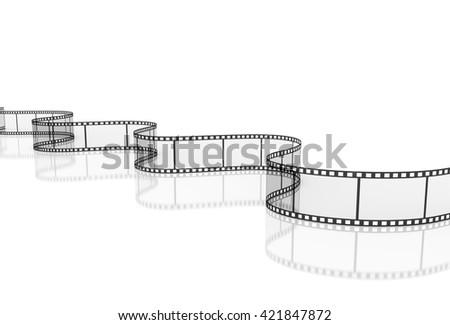 3d transparent film strip on white background, 3d illustration - stock photo