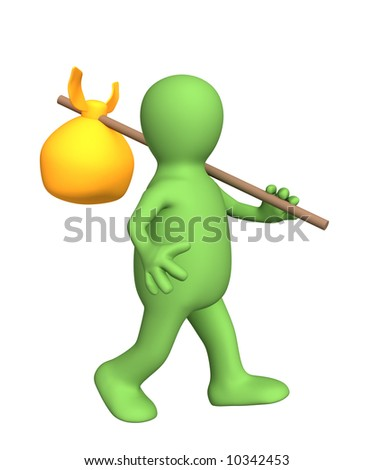 3d traveler - puppet, carrying bag on a stick. Objects over white