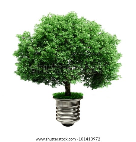 3d tree in a lightbulb, green energy concept - stock photo