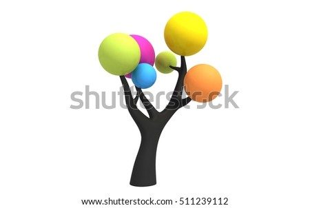 3d tree isolated on white background