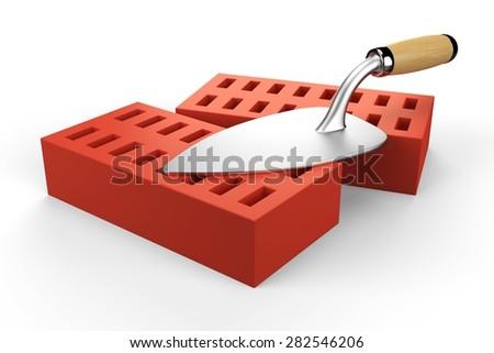 3d trowel and bricks - stock photo