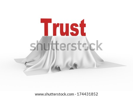 3d trust icon on a white tablecloth - stock photo