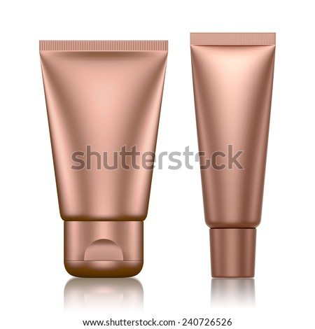 3D Tube Package copper color blank on a white background .isolated - stock photo