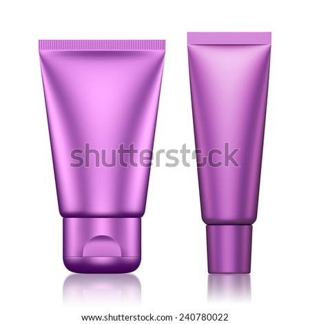 3D Tube Package Fuchsia color blank on a white background .isolated  - stock photo