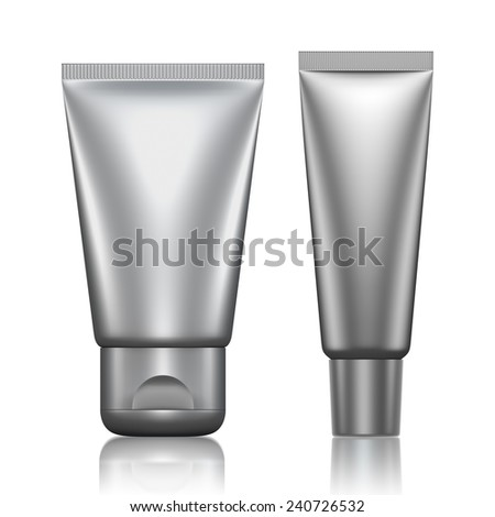 3D Tube Package silver color blank on a white background .isolated