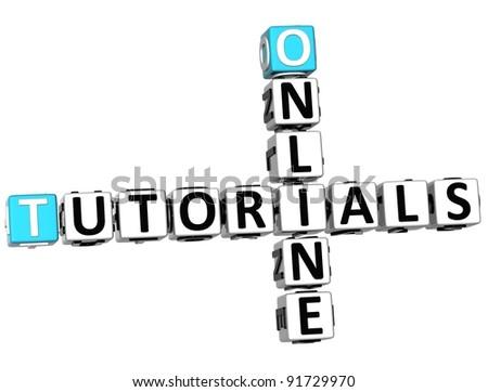 3D Tutorials Online Crossword on white background - stock photo