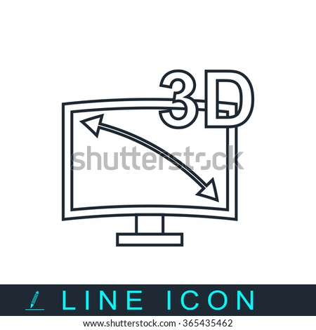 3d tv icon - stock photo