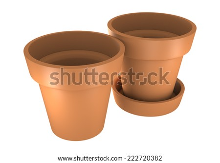 3D Two Orange Pot Isolated on White Background - stock photo