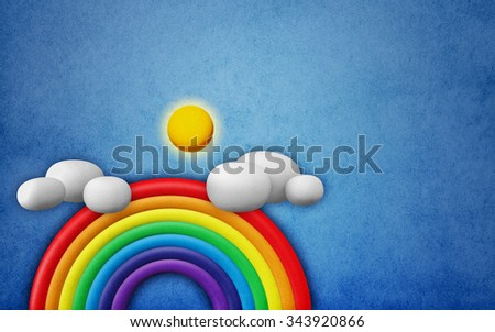 3D Two Rainbow with cloud blue sky, Abstract background paper texture vintage - stock photo