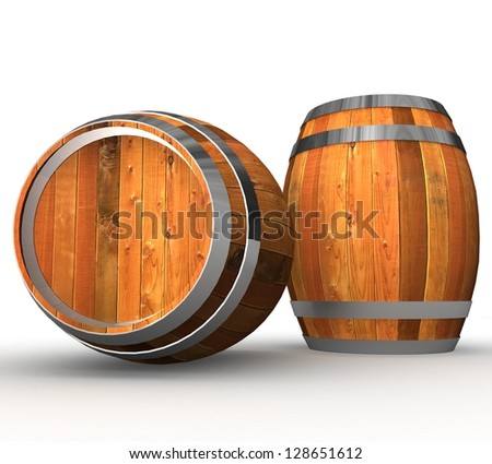 3d Two wooden barrels - stock photo