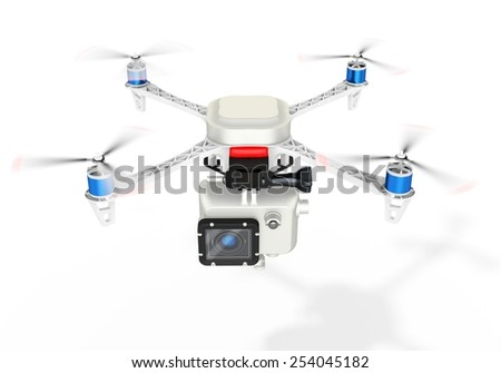 3d UAV drone with a camera on white background - stock photo