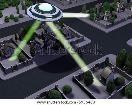 3d UFO attack. - stock photo