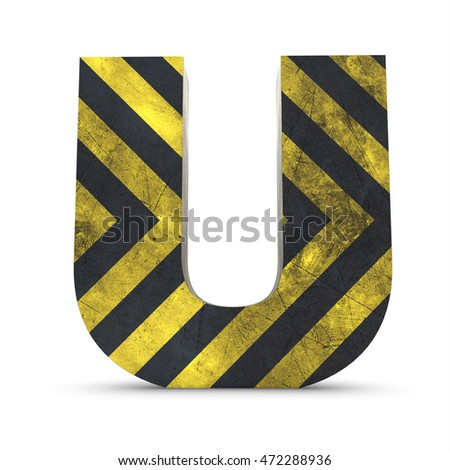 3d under construction letter u with structure working alphabet isolated white background