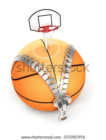 3d unzip basket ball concept, isolated white background