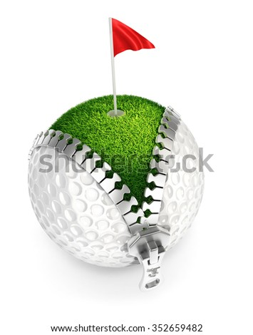 3d unzip golf ball concept, isolated white background