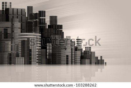 3d urban abstract background with dark sky and black buildings, futuristic city panorama illustration.