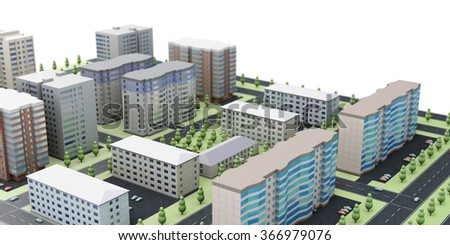 3d urban landscape on a white background. - stock photo