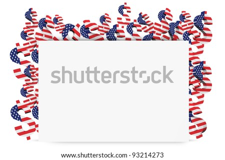 3D US dollar signs with USA flag background template design.  isolated on white - stock photo