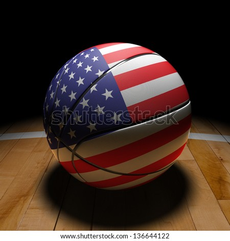 3D USA basket ball with dramatic light on basketball court. - stock photo