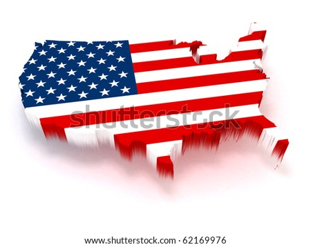3D USA map covered with a us flag texture - stock photo