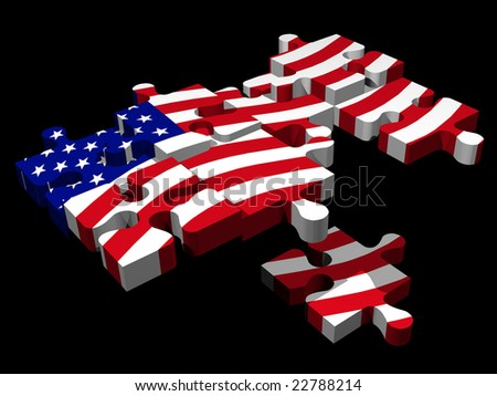 3d USA puzzle - stock photo