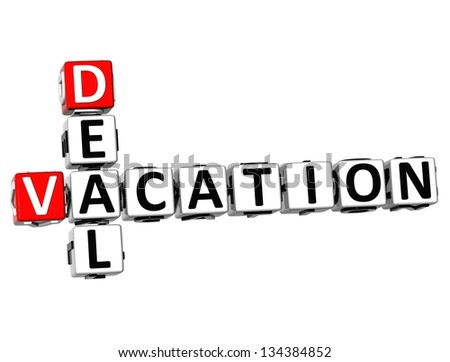 3D Vacation Deal Crossword on white background