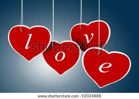 3d valentine's day hearts - stock photo