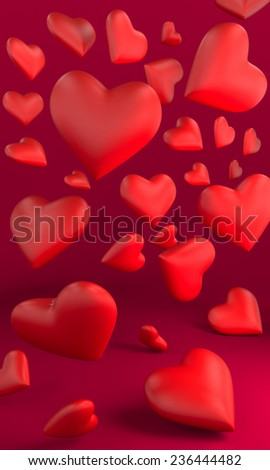 3D valentines day hearts falls - stock photo