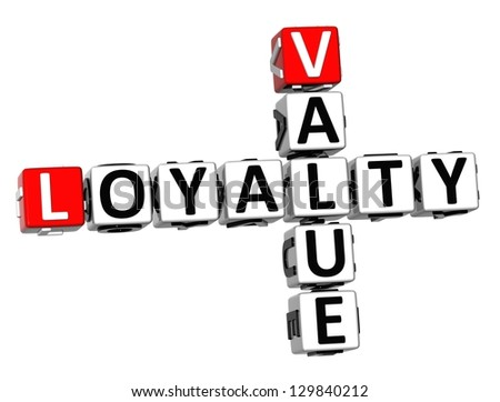 3D Value Loyalty Crossword on white background - stock photo