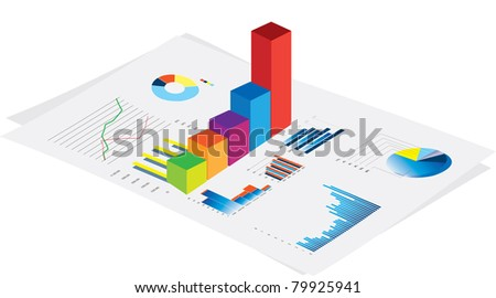 3d vector visual of business financial performance graphs on white background - stock photo