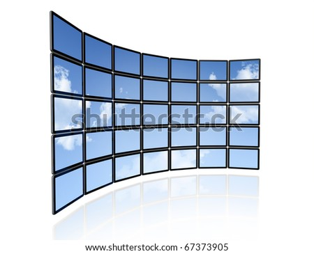 3D video wall of flat tv screens with sky background, isolated on white - stock photo